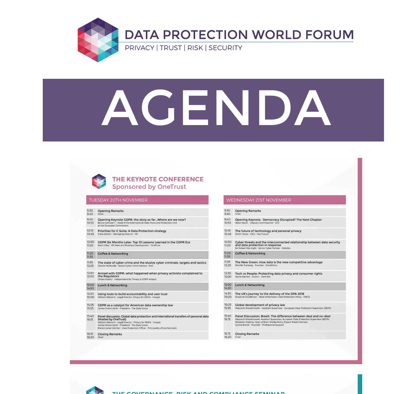View - Data Protection World Forum – Agenda