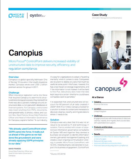 Canopius ControlPoint Case Study - Oyster IMS